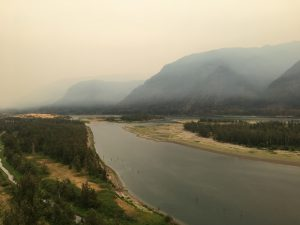 The view east of Beacon Rock during Eagle Creek Fire